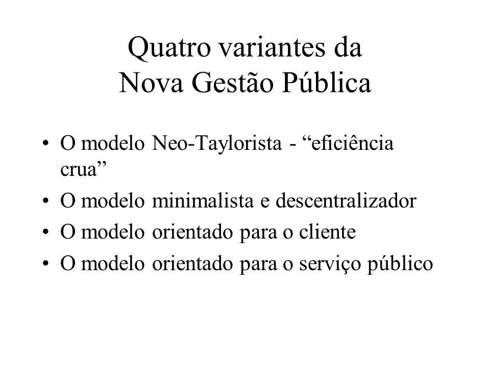 Quatro variantes da Nova Gestão Pública O modelo Neo-Taylorista - eficiência crua O modelo minimalista e descentralizador O modelo orientado para o cl