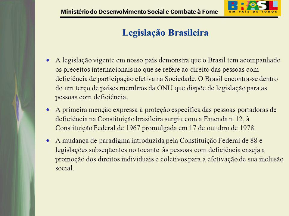 Ministério do Desenvolvimento Social e Combate à Fome Legislação Brasileira A legislação vigente em nosso país demonstra que o Brasil tem acompanhado
