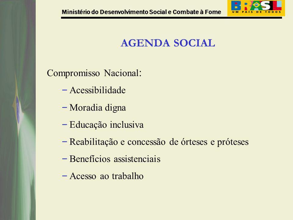 AGENDA SOCIAL Compromisso Nacional : – Acessibilidade – Moradia digna – Educação inclusiva – Reabilitação e concessão de órteses e próteses – Benefíci