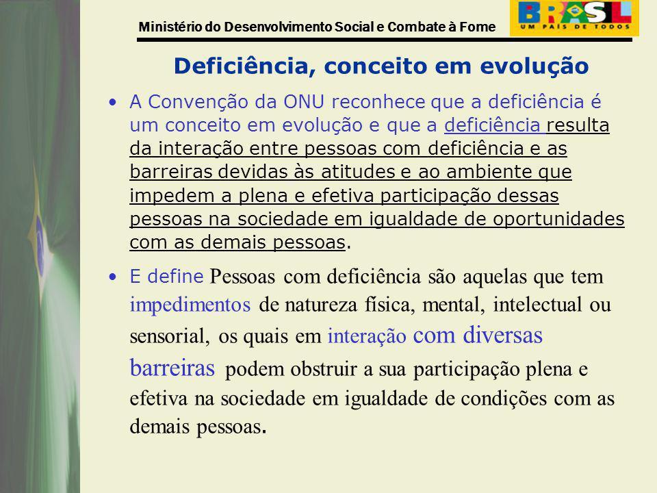 Ministério do Desenvolvimento Social e Combate à Fome Deficiência, conceito em evolução A Convenção da ONU reconhece que a deficiência é um conceito e