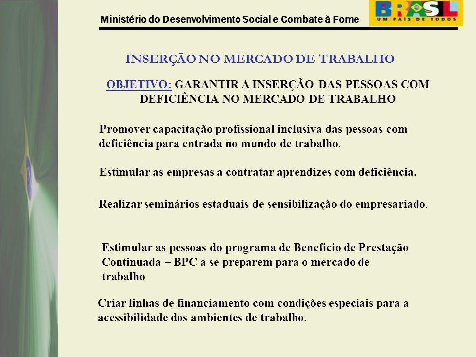 Ministério do Desenvolvimento Social e Combate à Fome INSERÇÃO NO MERCADO DE TRABALHO OBJETIVO: GARANTIR A INSERÇÃO DAS PESSOAS COM DEFICIÊNCIA NO MER