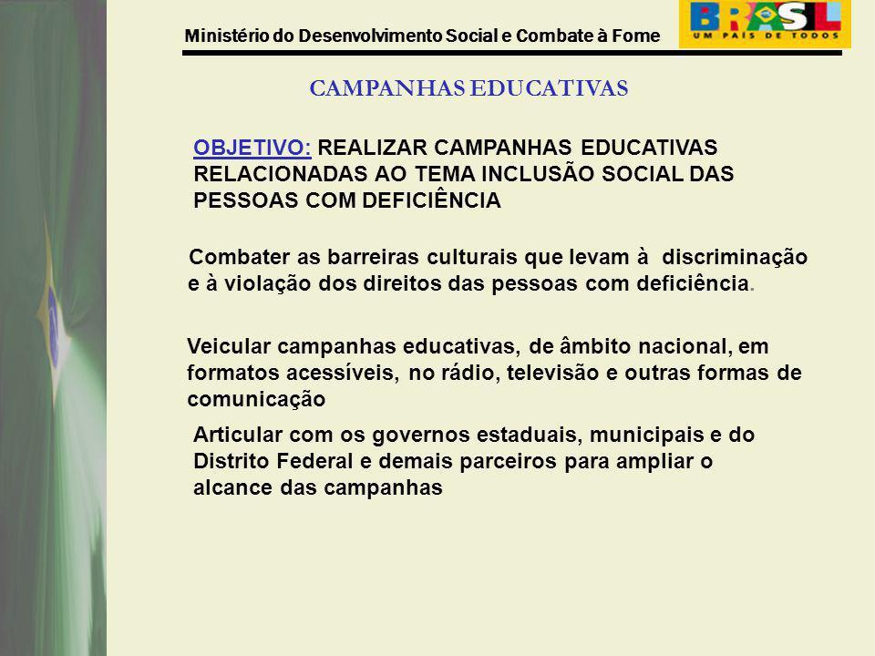 Ministério do Desenvolvimento Social e Combate à Fome CAMPANHAS EDUCATIVAS OBJETIVO: REALIZAR CAMPANHAS EDUCATIVAS RELACIONADAS AO TEMA INCLUSÃO SOCIA