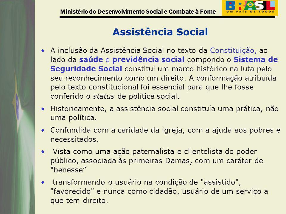 Ministério do Desenvolvimento Social e Combate à Fome Assistência Social A inclusão da Assistência Social no texto da Constituição, ao lado da saúde e