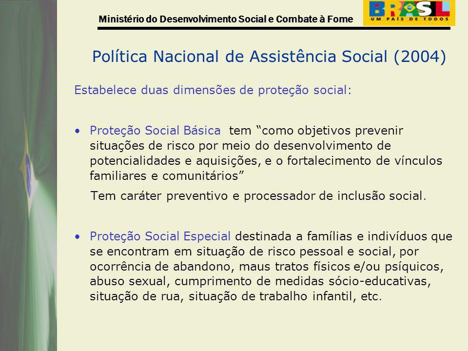 Ministério do Desenvolvimento Social e Combate à Fome Política Nacional de Assistência Social (2004) Estabelece duas dimensões de proteção social: Pro