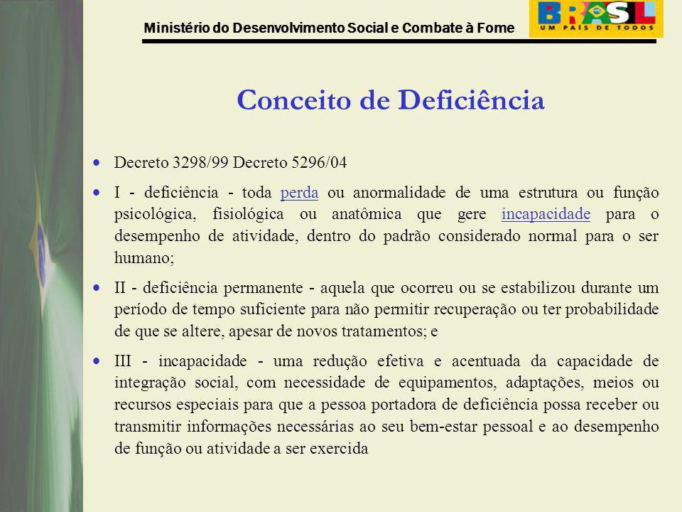 Ministério do Desenvolvimento Social e Combate à Fome De 5.142 CRAS, localizados em 3.831 municípios, cadastrados no Censo CRAS de 2008: 1.138 CRAS (22,13%), localizados em 903 municípios, responderam que não possuem condições de acessibilidade para pessoas idosas ou com deficiência; 2.940 CRAS (57,18%), localizados em 2.303 municípios, responderam que possuem condições de acessibilidade para pessoas idosas ou com deficiência, mas que não estão em conformidade com a Norma da ABNT (NBR 9050); 1.064 CRAS (20,69%), localizados em 912 municípios, responderam que possuem condições de acessibilidade para pessoas idosas ou com deficiência, em conformidade com a Norma da ABNT (NBR 9050).