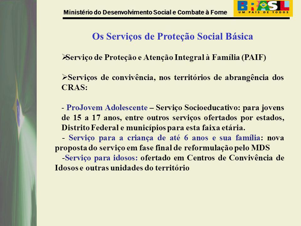 Ministério do Desenvolvimento Social e Combate à Fome Os Serviços de Proteção Social Básica Serviço de Proteção e Atenção Integral à Família (PAIF) Se