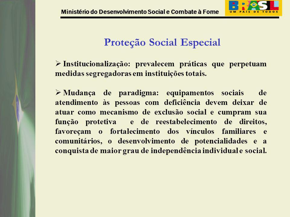 Ministério do Desenvolvimento Social e Combate à Fome Proteção Social Especial Institucionalização: prevalecem práticas que perpetuam medidas segregad