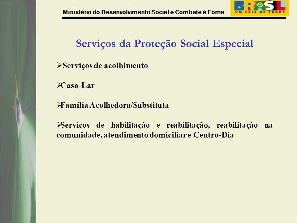 Ministério do Desenvolvimento Social e Combate à Fome Serviços da Proteção Social Especial Serviços de acolhimento Casa-Lar Família Acolhedora/Substit