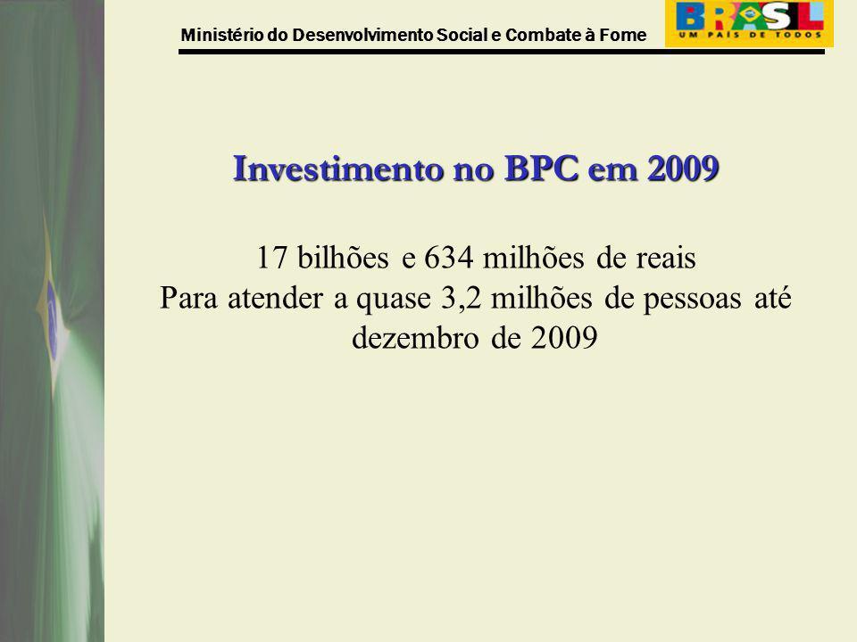 Ministério do Desenvolvimento Social e Combate à Fome Investimento no BPC em 2009 17 bilhões e 634 milhões de reais Para atender a quase 3,2 milhões d