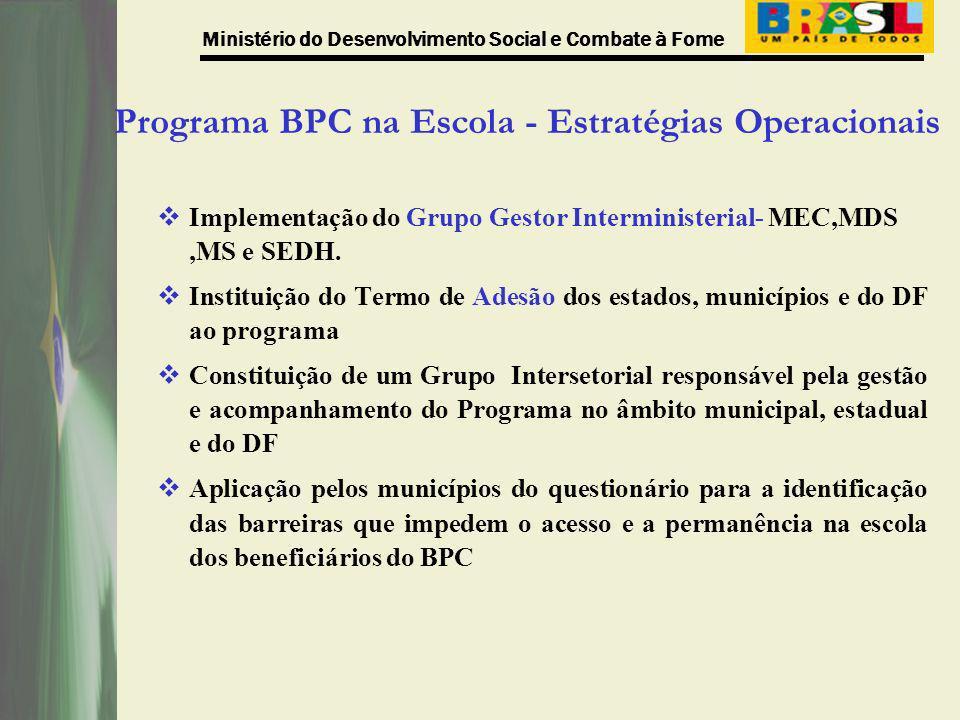 Ministério do Desenvolvimento Social e Combate à Fome Programa BPC na Escola - Estratégias Operacionais Implementação do Grupo Gestor Interministerial