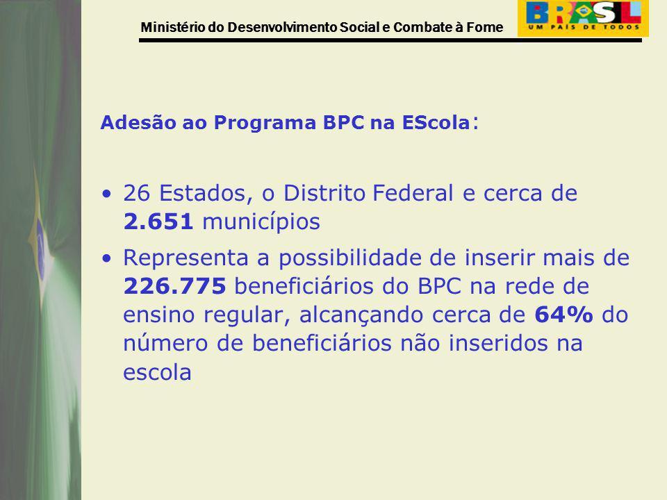 Ministério do Desenvolvimento Social e Combate à Fome Adesão ao Programa BPC na EScola : 26 Estados, o Distrito Federal e cerca de 2.651 municípios Re