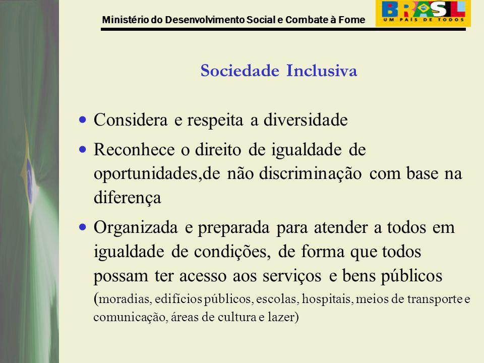 Ministério do Desenvolvimento Social e Combate à Fome LOAS que, no seu art.2, parágrafo IV, ao regulamentar as disposições constitucionais assegura como um dos objetivos da Assistência Social: a habilitação e reabilitação das pessoas portadoras de deficiência e a promoção de sua integração à vida comunitária.