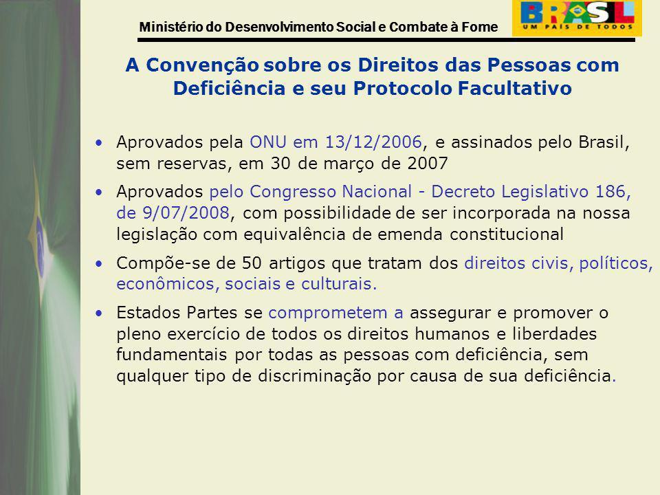 Ministério do Desenvolvimento Social e Combate à Fome Legislação Brasileira A legislação vigente em nosso país demonstra que o Brasil tem acompanhado os preceitos internacionais no que se refere ao direito das pessoas com deficiência de participação efetiva na Sociedade.