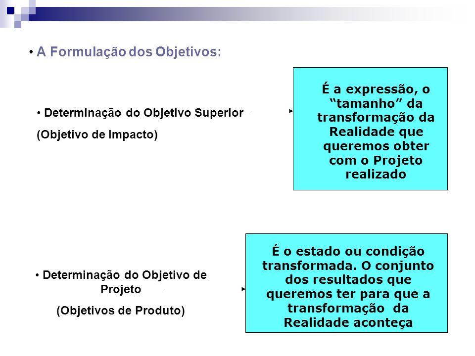 A Formulação dos Objetivos: Determinação do Objetivo Superior (Objetivo de Impacto) É a expressão, o tamanho da transformação da Realidade que queremo