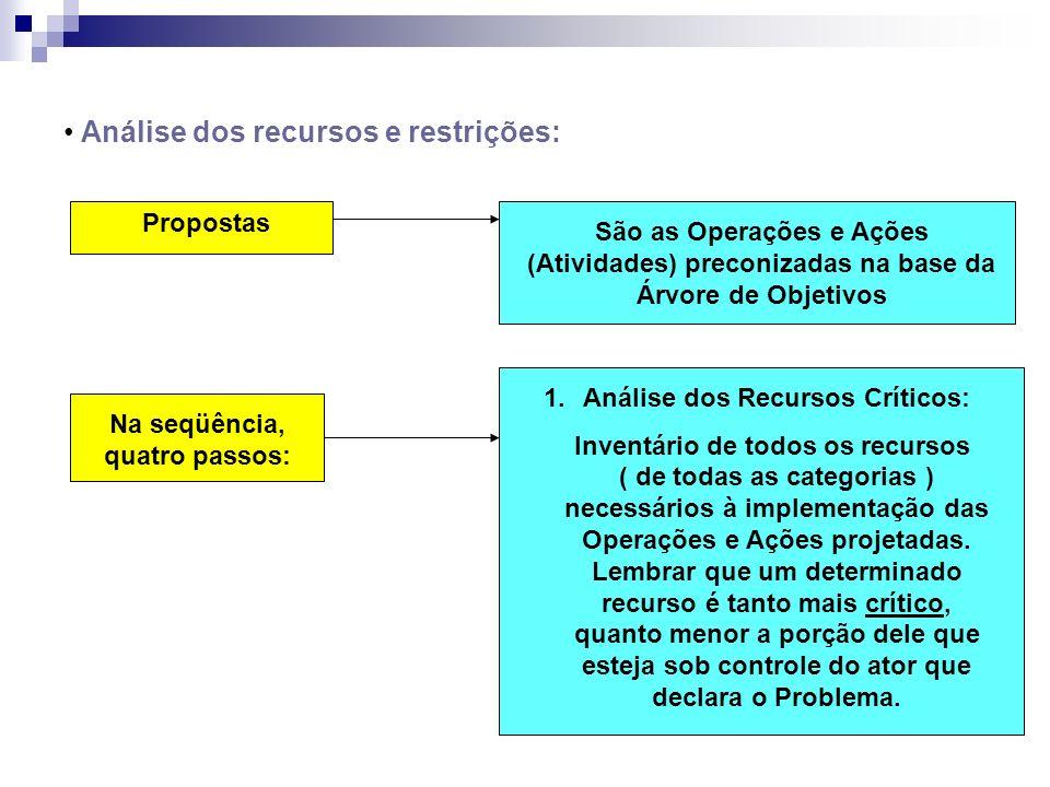 Análise dos recursos e restrições: Propostas São as Operações e Ações (Atividades) preconizadas na base da Árvore de Objetivos Na seqüência, quatro pa