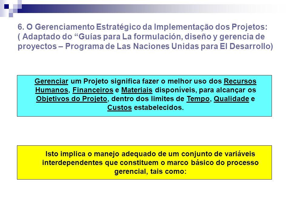 6. O Gerenciamento Estratégico da Implementação dos Projetos: ( Adaptado do Guías para La formulación, diseño y gerencia de proyectos – Programa de La