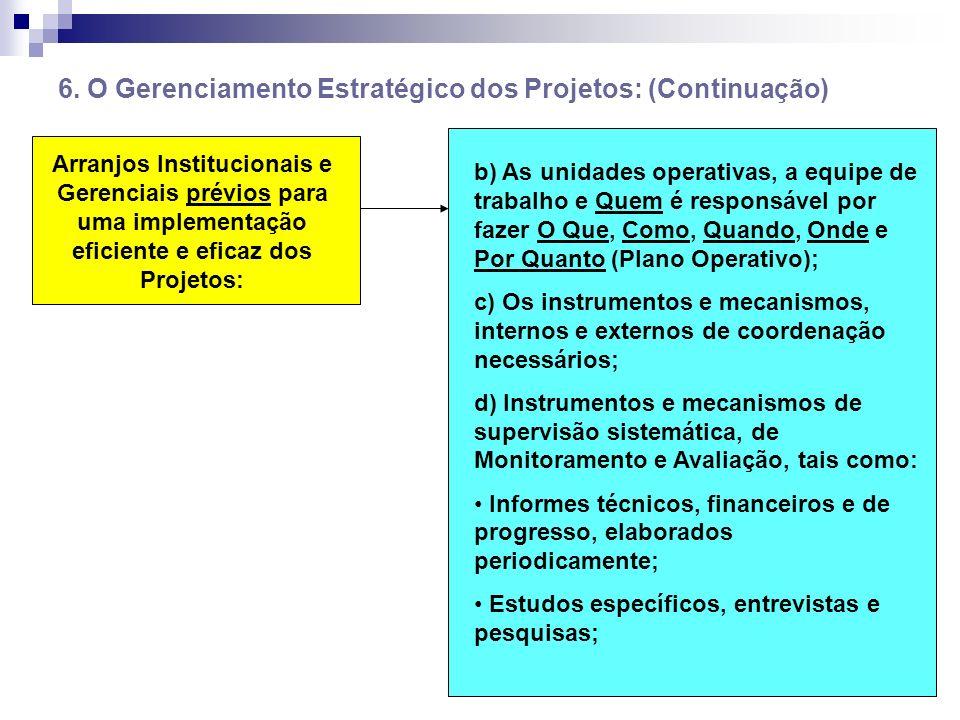 6. O Gerenciamento Estratégico dos Projetos: (Continuação) Arranjos Institucionais e Gerenciais prévios para uma implementação eficiente e eficaz dos
