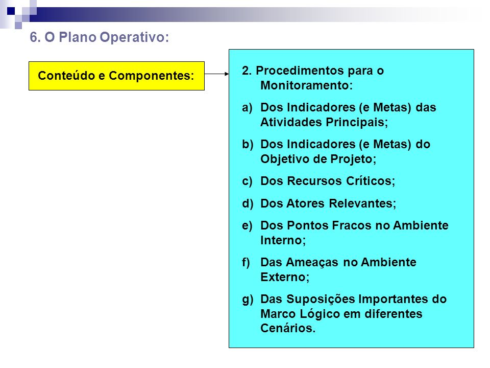 6. O Plano Operativo: Conteúdo e Componentes: 2. Procedimentos para o Monitoramento: a)Dos Indicadores (e Metas) das Atividades Principais; b)Dos Indi
