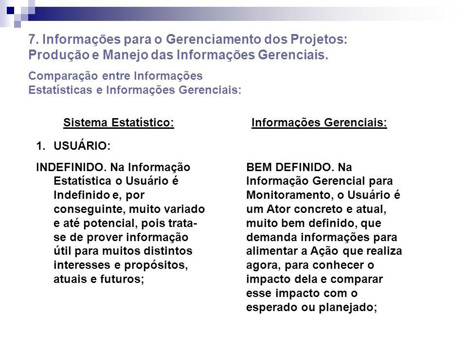 7. Informações para o Gerenciamento dos Projetos: Produção e Manejo das Informações Gerenciais. Comparação entre Informações Estatísticas e Informaçõe