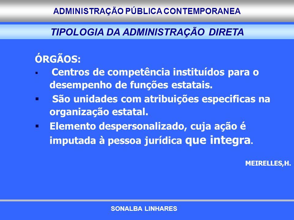 ADMINISTRAÇÃO PÚBLICA CONTEMPORANEA TIPOLOGIA DA ADMINISTRAÇÃO DIRETA ÓRGÃOS: Centros de competência instituídos para o desempenho de funções estatais
