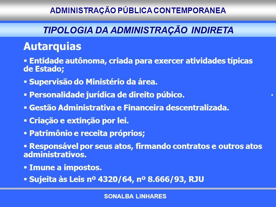 ADMINISTRAÇÃO PÚBLICA CONTEMPORANEA TIPOLOGIA DA ADMINISTRAÇÃO INDIRETA. Autarquias Entidade autônoma, criada para exercer atividades típicas de Estad