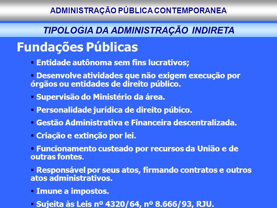 ADMINISTRAÇÃO PÚBLICA CONTEMPORANEA TIPOLOGIA DA ADMINISTRAÇÃO INDIRETA Fundações Públicas Entidade autônoma sem fins lucrativos; Desenvolve atividade