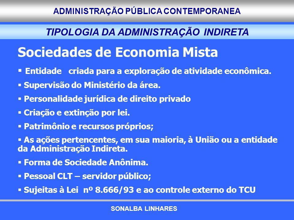 ADMINISTRAÇÃO PÚBLICA CONTEMPORANEA TIPOLOGIA DA ADMINISTRAÇÃO INDIRETA Sociedades de Economia Mista Entidade criada para a exploração de atividade ec