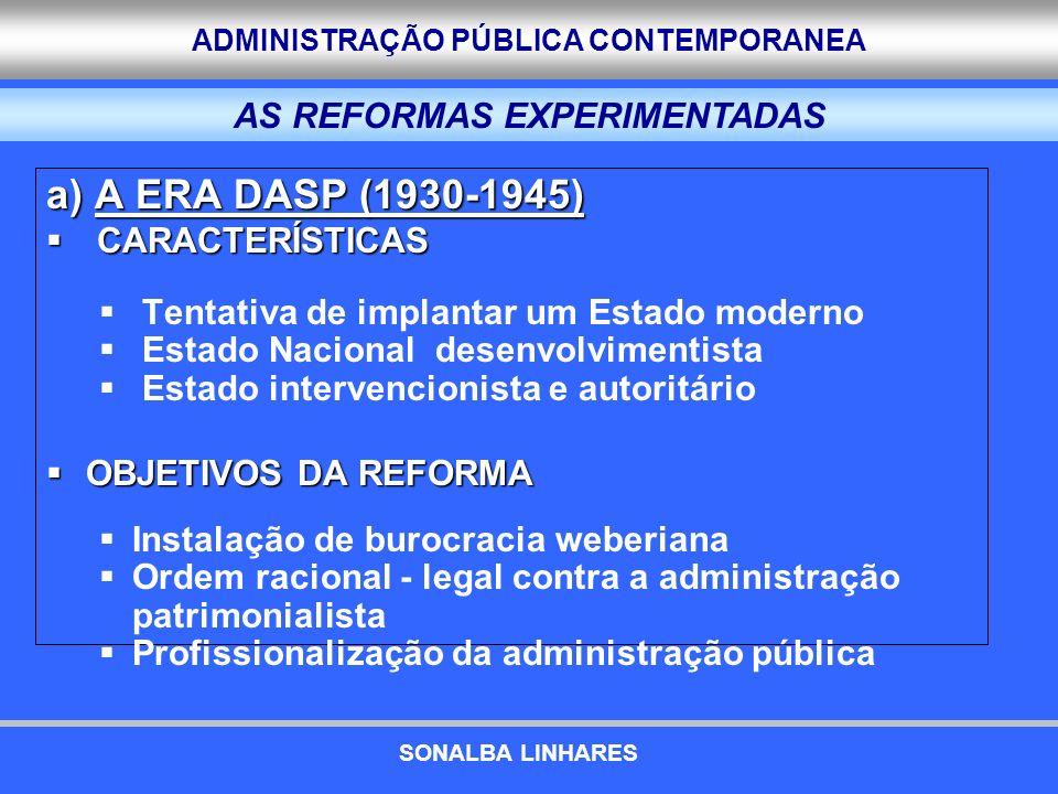 ADMINISTRAÇÃO PÚBLICA CONTEMPORANEA a) A ERA DASP (1930-1945) CARACTERÍSTICAS CARACTERÍSTICAS Tentativa de implantar um Estado moderno Estado Nacional