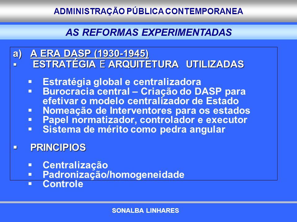 ADMINISTRAÇÃO PÚBLICA CONTEMPORANEA a)A ERA DASP (1930-1945) ESTRATÉGIA E ARQUITETURA UTILIZADAS ESTRATÉGIA E ARQUITETURA UTILIZADAS Estratégia global