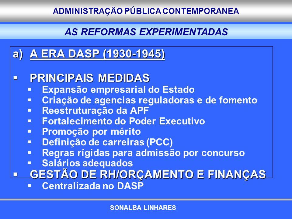 ADMINISTRAÇÃO PÚBLICA CONTEMPORANEA a)A ERA DASP (1930-1945) PRINCIPAIS MEDIDAS PRINCIPAIS MEDIDAS Expansão empresarial do Estado Criação de agencias