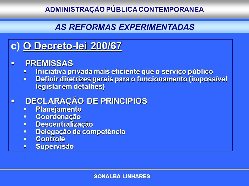 ADMINISTRAÇÃO PÚBLICA CONTEMPORANEA O Decreto-lei 200/67 c) O Decreto-lei 200/67 PREMISSAS PREMISSAS Iniciativa privada mais eficiente que o serviço p