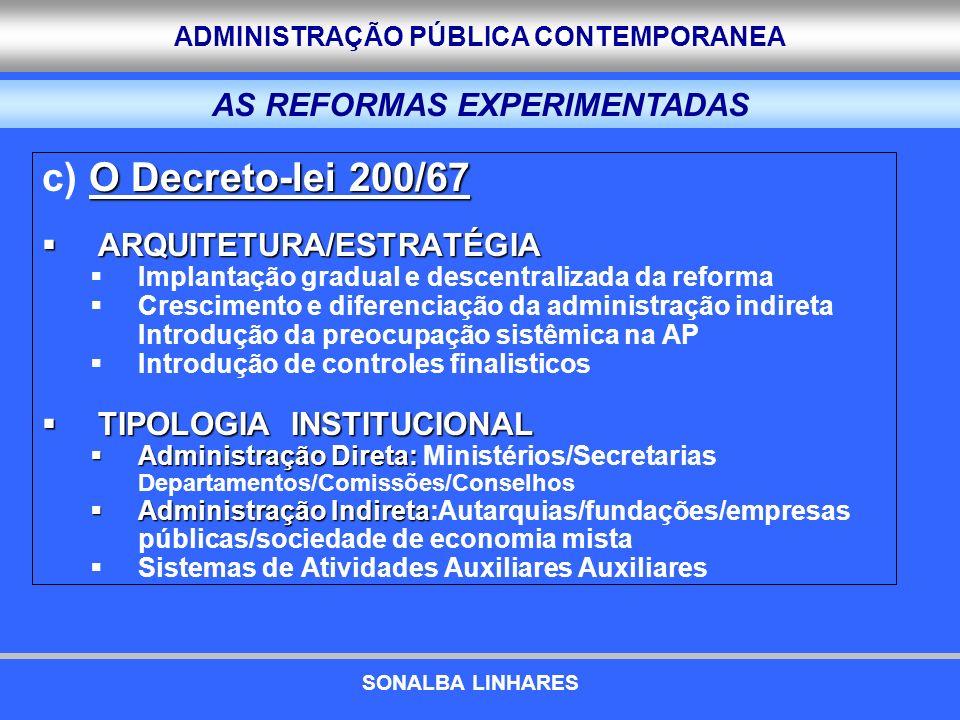 ADMINISTRAÇÃO PÚBLICA CONTEMPORANEA O Decreto-lei 200/67 c) O Decreto-lei 200/67 ARQUITETURA/ESTRATÉGIA ARQUITETURA/ESTRATÉGIA Implantação gradual e d
