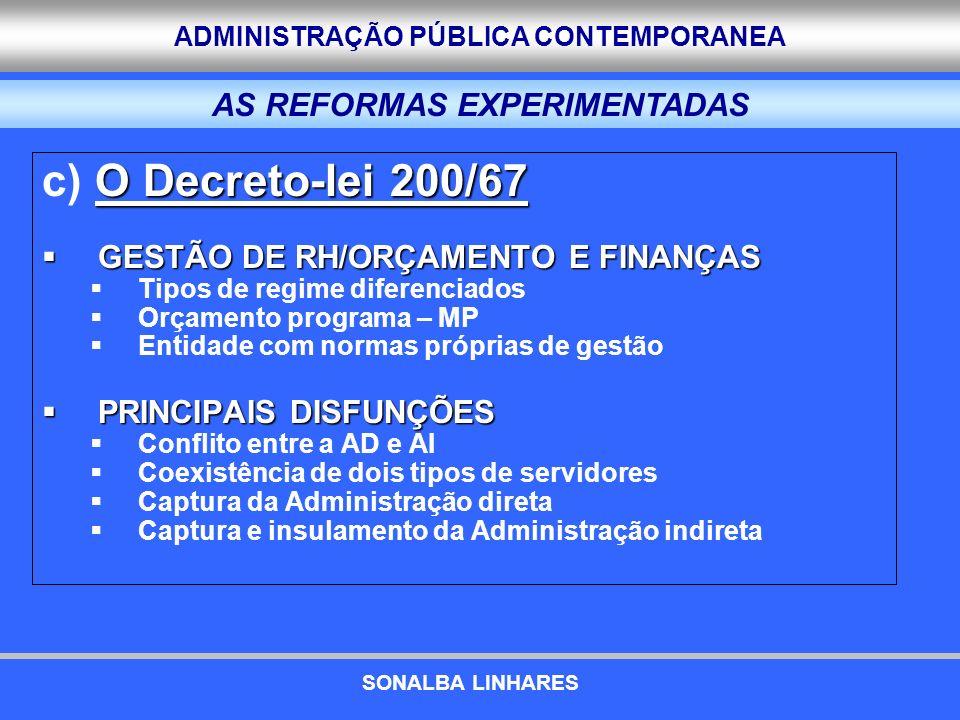ADMINISTRAÇÃO PÚBLICA CONTEMPORANEA O Decreto-lei 200/67 c) O Decreto-lei 200/67 GESTÃO DE RH/ORÇAMENTO E FINANÇAS GESTÃO DE RH/ORÇAMENTO E FINANÇAS T