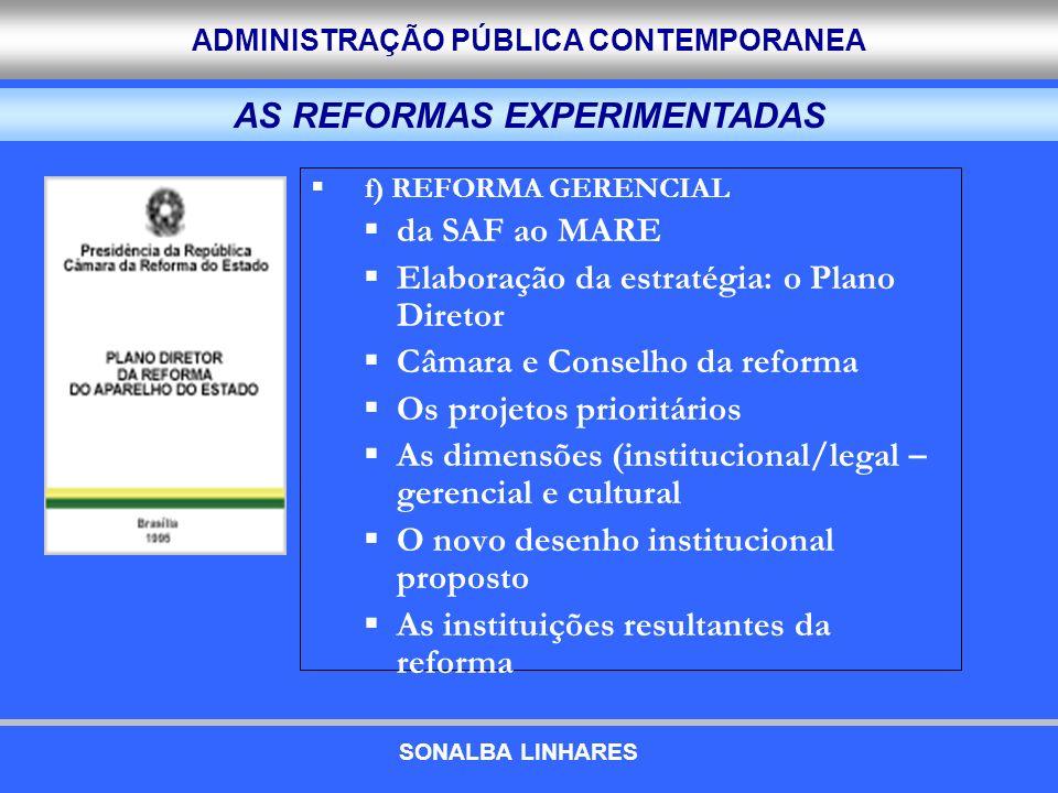 ADMINISTRAÇÃO PÚBLICA CONTEMPORANEA f) REFORMA GERENCIAL da SAF ao MARE Elaboração da estratégia: o Plano Diretor Câmara e Conselho da reforma Os proj