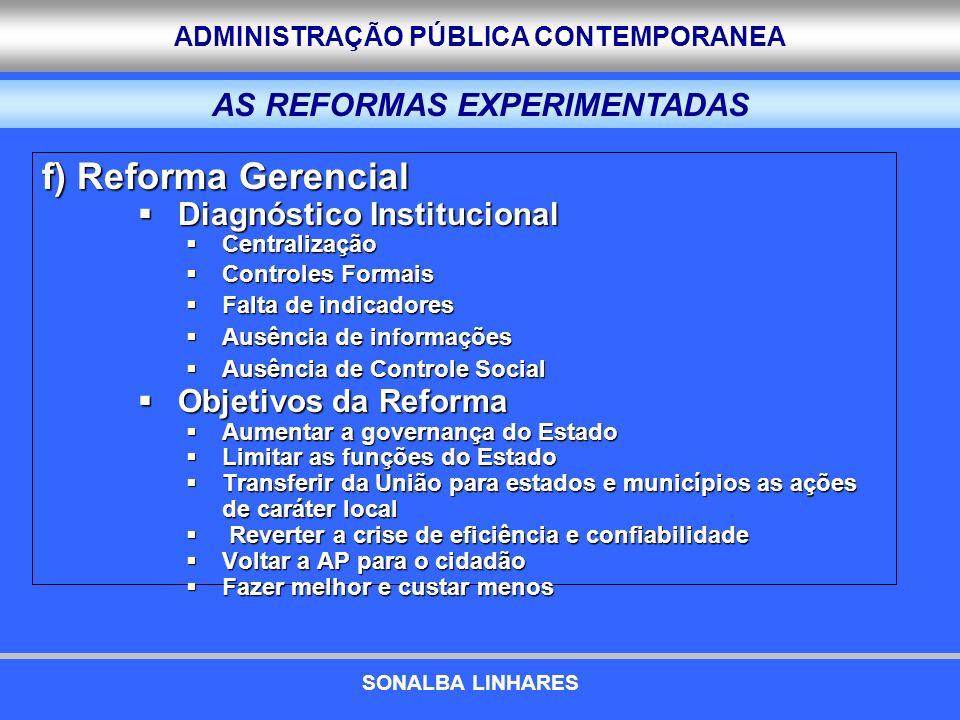 ADMINISTRAÇÃO PÚBLICA CONTEMPORANEA f) Reforma Gerencial Diagnóstico Institucional Diagnóstico Institucional Centralização Centralização Controles For