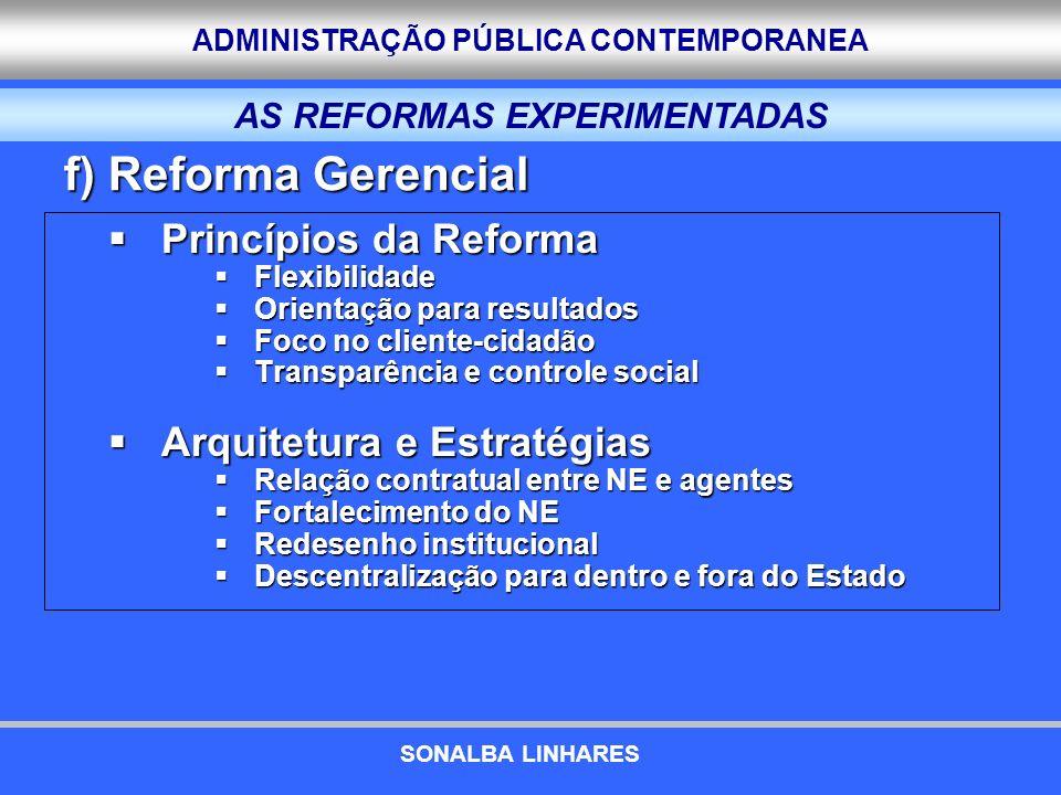 ADMINISTRAÇÃO PÚBLICA CONTEMPORANEA Princípios da Reforma Princípios da Reforma Flexibilidade Flexibilidade Orientação para resultados Orientação para