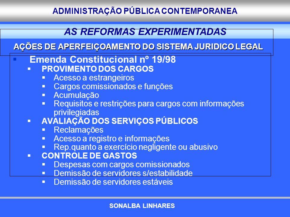 ADMINISTRAÇÃO PÚBLICA CONTEMPORANEA Emenda Constitucional nº 19/98 PROVIMENTO DOS CARGOS Acesso a estrangeiros Cargos comissionados e funções Acumulaç