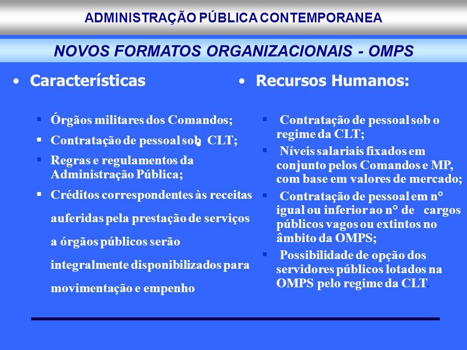 ADMINISTRAÇÃO PÚBLICA CONTEMPORANEA Características Órgãos militares dos Comandos; Contratação de pessoal sob CLT; Regras e regulamentos da Administra