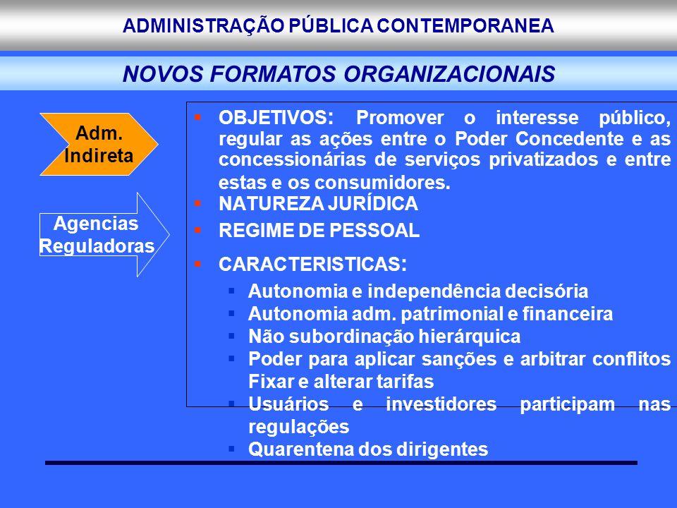 ADMINISTRAÇÃO PÚBLICA CONTEMPORANEA OBJETIVOS : Promover o interesse público, regular as ações entre o Poder Concedente e as concessionárias de serviç