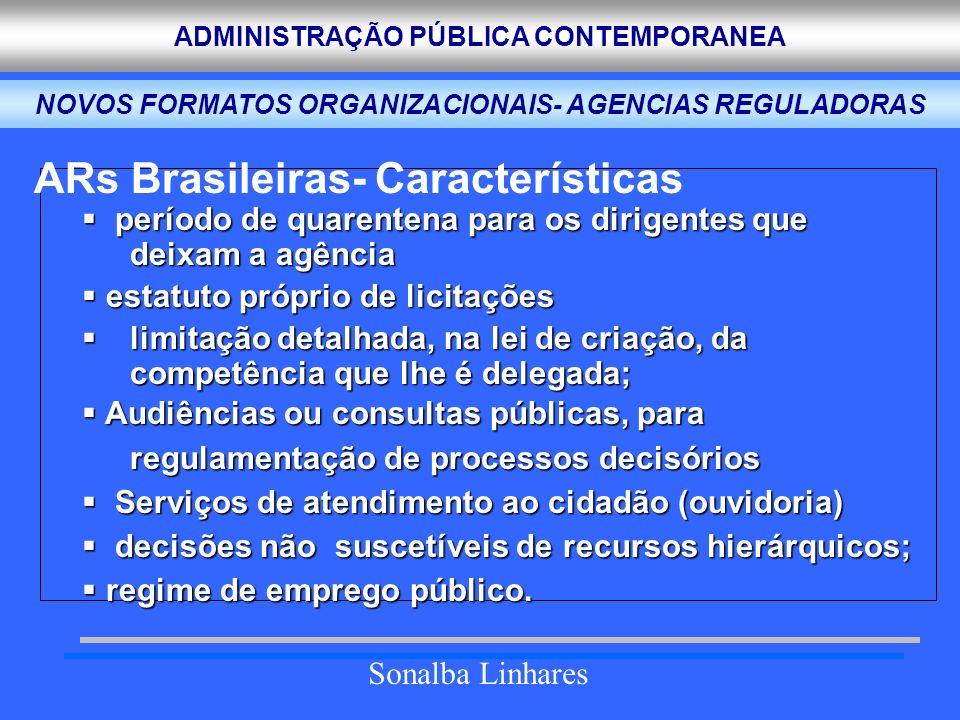 ADMINISTRAÇÃO PÚBLICA CONTEMPORANEA Sonalba Linhares AGENCIAS REGULADORAS BRASILEIRAS NOVOS FORMATOS ORGANIZACIONAIS- AGENCIAS REGULADORAS ARs Brasile