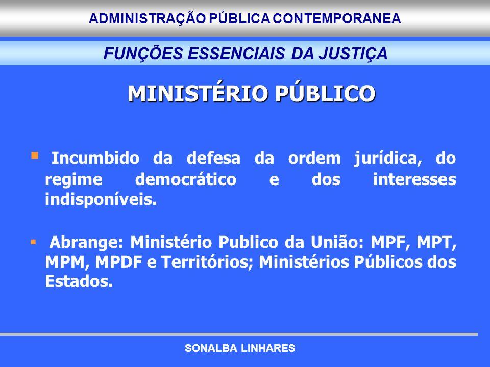 ADMINISTRAÇÃO PÚBLICA CONTEMPORANEA FUNÇÕES ESSENCIAIS DA JUSTIÇA MINISTÉRIO PÚBLICO Incumbido da defesa da ordem jurídica, do regime democrático e do