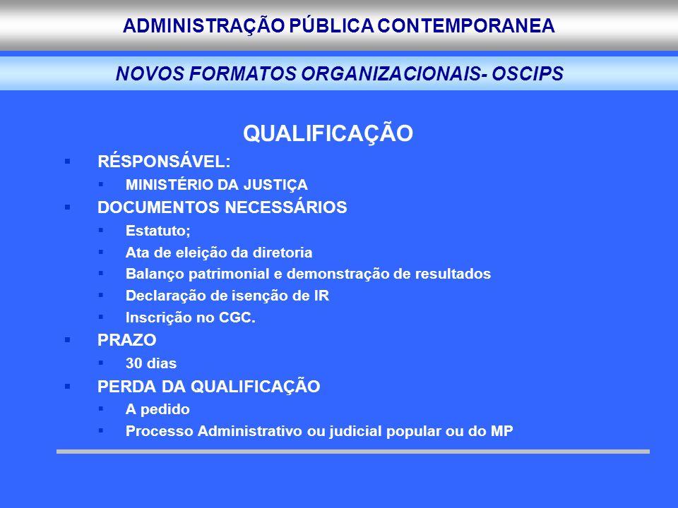 ADMINISTRAÇÃO PÚBLICA CONTEMPORANEA QUALIFICAÇÃO RÉSPONSÁVEL: MINISTÉRIO DA JUSTIÇA DOCUMENTOS NECESSÁRIOS Estatuto; Ata de eleição da diretoria Balan
