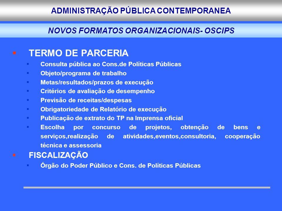 ADMINISTRAÇÃO PÚBLICA CONTEMPORANEA TERMO DE PARCERIA Consulta pública ao Cons.de Políticas Públicas Objeto/programa de trabalho Metas/resultados/praz