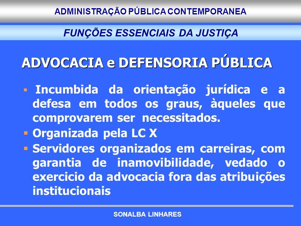ADMINISTRAÇÃO PÚBLICA CONTEMPORANEA FUNÇÕES ESSENCIAIS DA JUSTIÇA ADVOCACIA e DEFENSORIA PÚBLICA Incumbida da orientação jurídica e a defesa em todos os graus, àqueles que comprovarem ser necessitados.