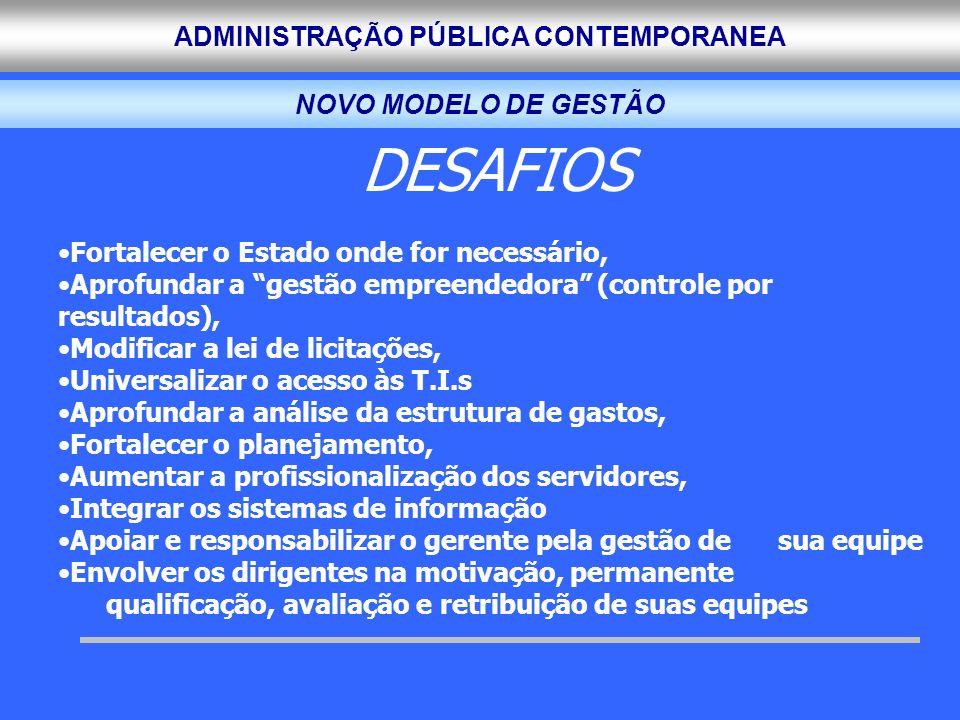 ADMINISTRAÇÃO PÚBLICA CONTEMPORANEA DESAFIOS Fortalecer o Estado onde for necessário, Aprofundar a gestão empreendedora (controle por resultados), Mod