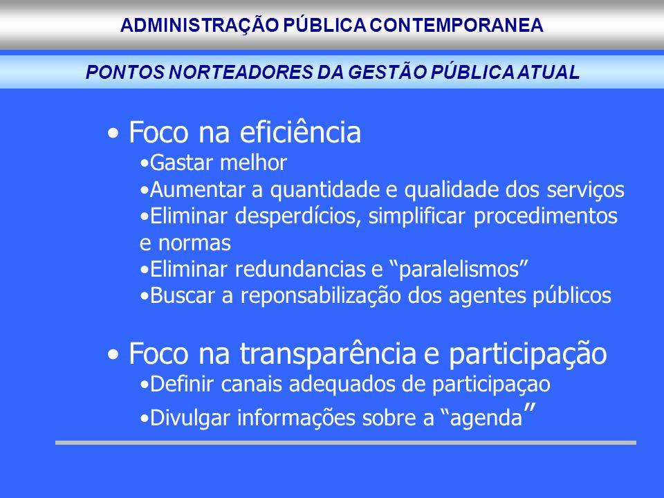 ADMINISTRAÇÃO PÚBLICA CONTEMPORANEA Foco na eficiência Gastar melhor Aumentar a quantidade e qualidade dos serviços Eliminar desperdícios, simplificar