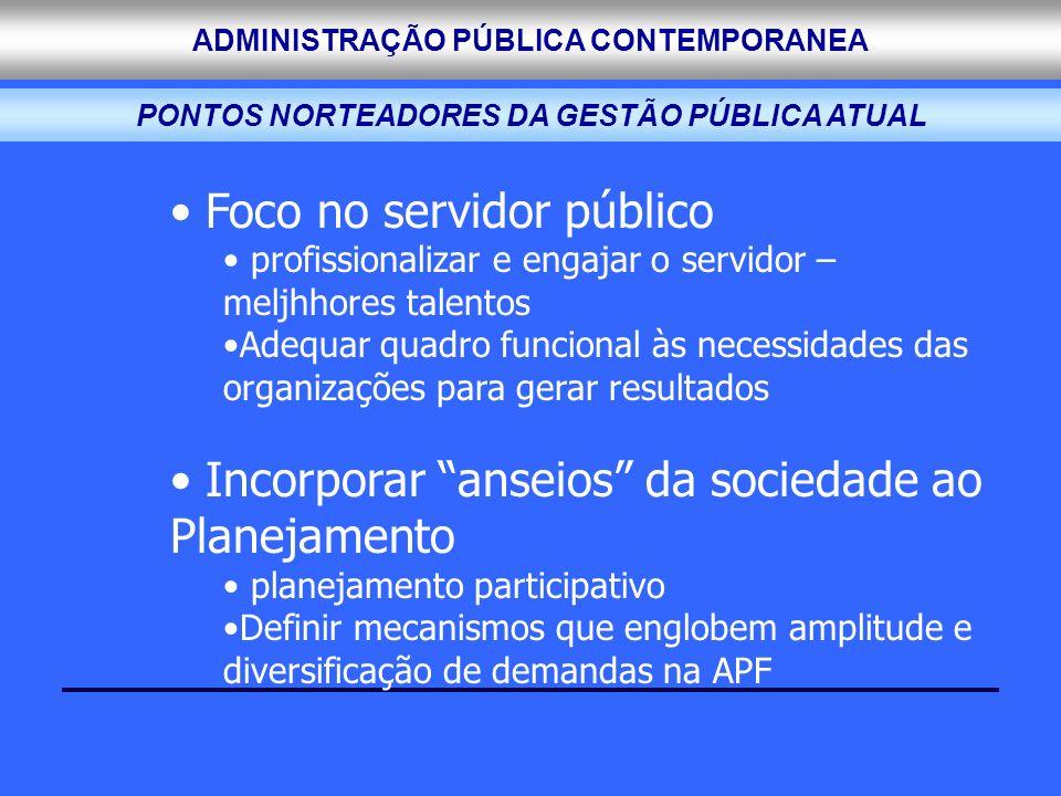 ADMINISTRAÇÃO PÚBLICA CONTEMPORANEA Foco no servidor público profissionalizar e engajar o servidor – meljhhores talentos Adequar quadro funcional às n