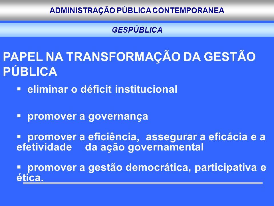 ADMINISTRAÇÃO PÚBLICA CONTEMPORANEA GESPÚBLICA PAPEL NA TRANSFORMAÇÃO DA GESTÃO PÚBLICA eliminar o déficit institucional promover a governança promove