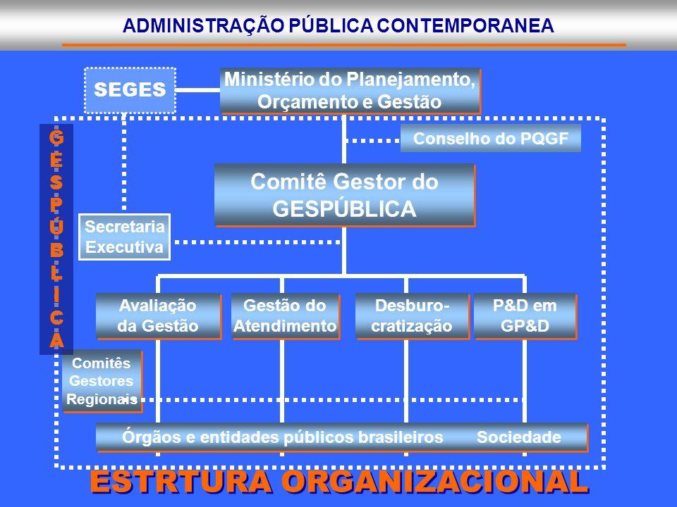 ADMINISTRAÇÃO PÚBLICA CONTEMPORANEA ESTRTURA ORGANIZACIONAL Secretaria Executiva Ministério do Planejamento, Orçamento e Gestão Ministério do Planejam