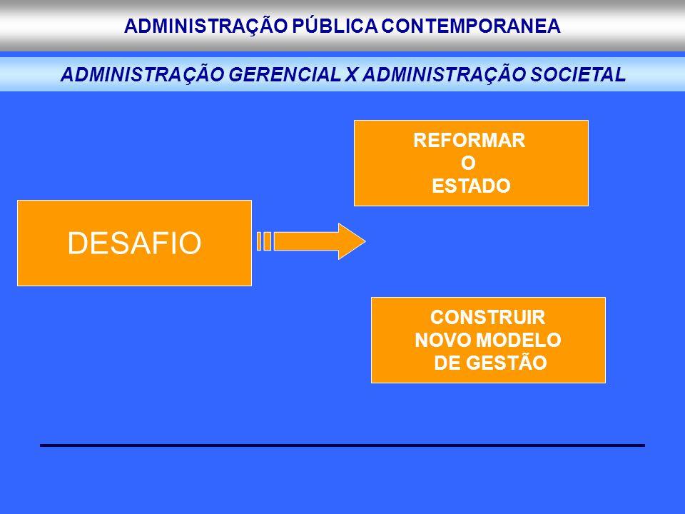 ADMINISTRAÇÃO PÚBLICA CONTEMPORANEA ADMINISTRAÇÃO GERENCIAL X ADMINISTRAÇÃO SOCIETAL DESAFIO CONSTRUIR NOVO MODELO DE GESTÃO REFORMAR O ESTADO